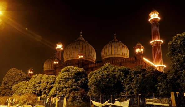 The Jama Masjid is brightly lit up at night